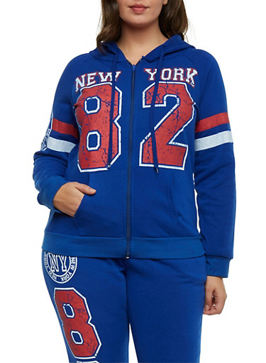 Plus Size New York 89 Graphic Hoodie,BLUE,large