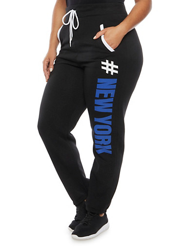 Plus Size New York Print Sweatpants,BLACK,large