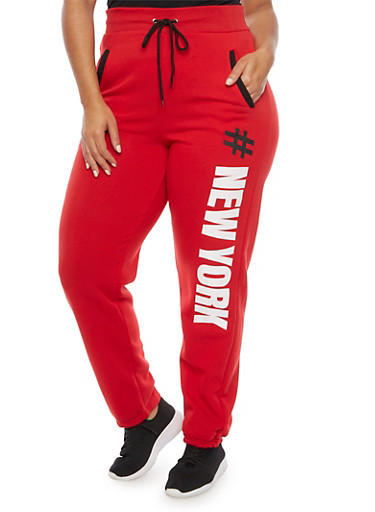 Plus Size Sweatpants with New York Print,RED,large