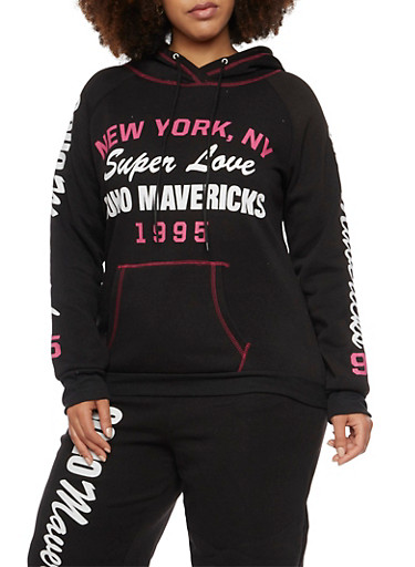 Plus Size Hoodie with Sporty Graphics,BLACK,large