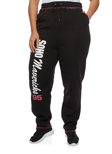 Plus Size Sweatpants with Sporty Graphics,BLACK/WHITE,large