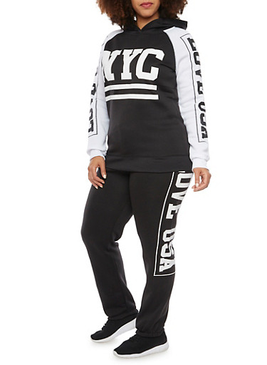 Plus Size Hoodie with NYC Graphic,BLACK,large