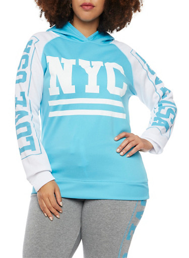 Plus Size Hoodie with NYC Graphic,BLUE,large