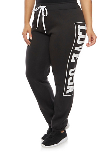 Plus Size Sweatpants with Love USA Print,BLACK,large