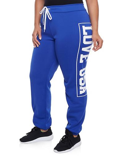 Plus Size Sweatpants with Love USA Print,BLUE,large