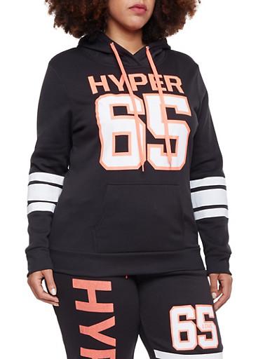 Plus Size Hoodie with Hyper 65 Print,BLACK,large