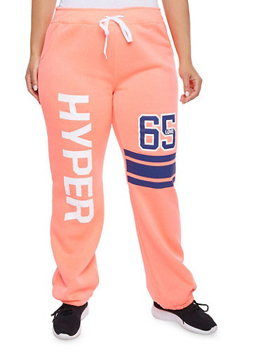 Plus Size Sweatpants with Hyper Love Graphic,CORAL,large