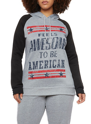Plus Size Patriotic Graphic Hoodie,GRAY,large