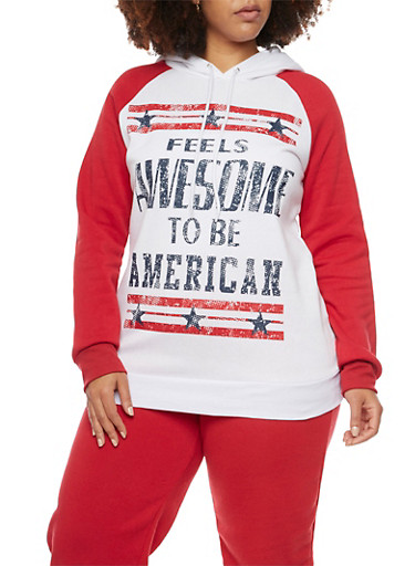 Plus Size Patriotic Graphic Hoodie,RED,large