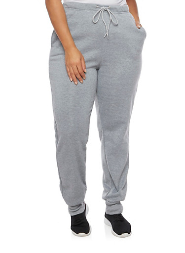 Plus Size Joggers with Fleece Lining,GRAY,large