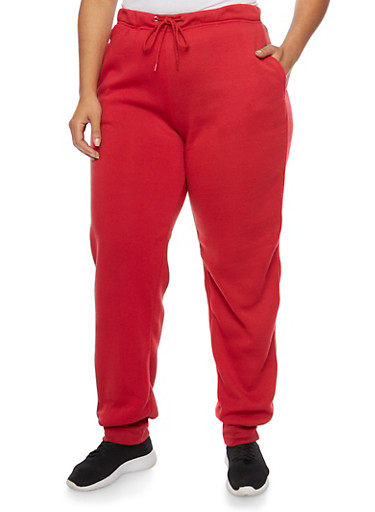 Plus Size Joggers with Fleece Lining,RED,large
