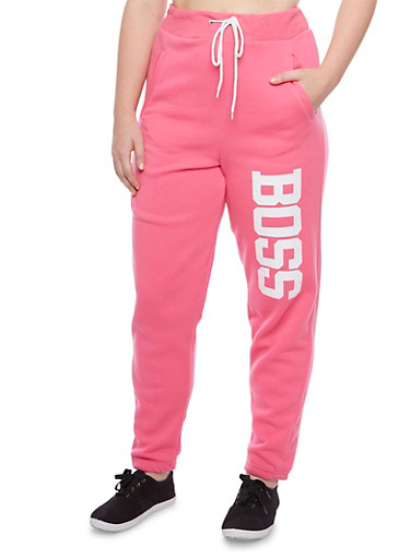 Plus Size Graphic Joggers with Boss Print,PINK,large