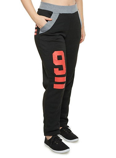 Plus Size Graphic Sweatpants,BLACK,large