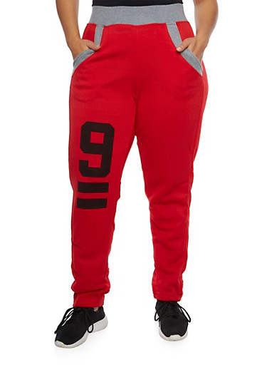 Plus Size Graphic Sweatpants,RED,large