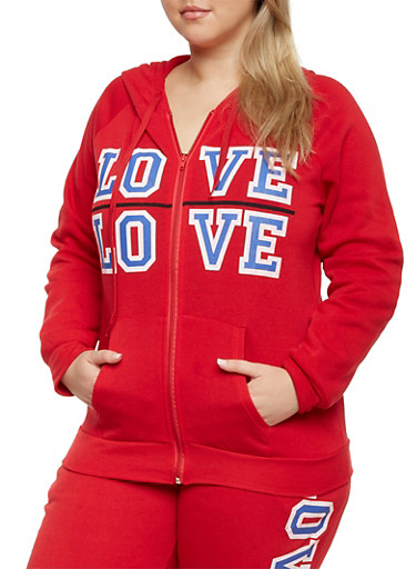 Plus Size Zip Front Hoodie with Love Print,HOT RED,large