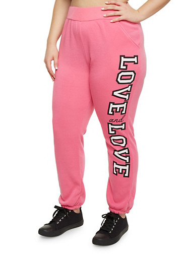 Plus Size Joggers with Love Graphic,PINK,large