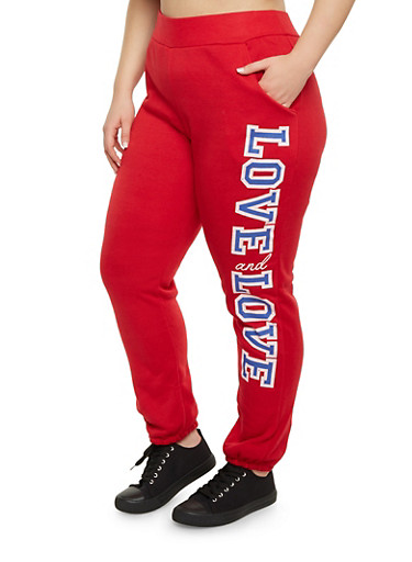 Plus Size Joggers with Love Graphic,HOT RED,large