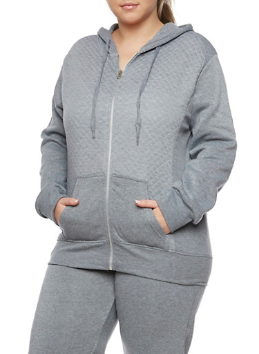 Plus Size Quilted Hoodie with Zip Front,HEATHER,large