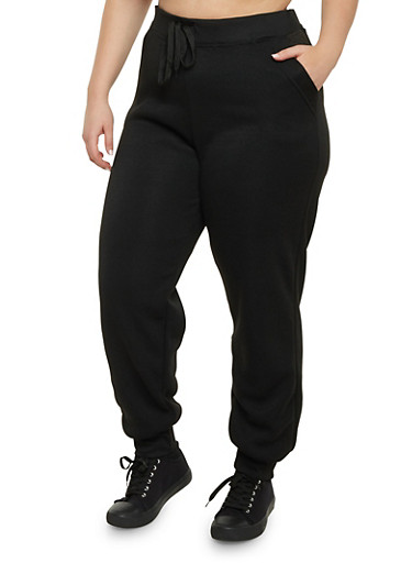 Plus Size Joggers with Quilted Pockets,BLACK,large
