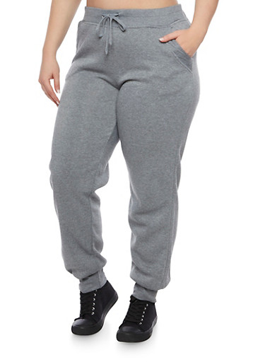 Plus Size Joggers with Quilted Pockets,HEATHER,large