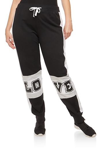 Plus Size Love Graphic Color Block Sweatpants,BLACK,large