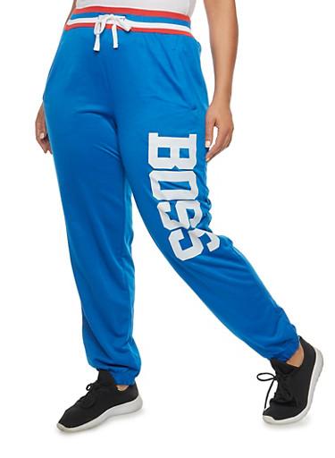Plus Size Boss Graphic Sweatpants,NAVY,large