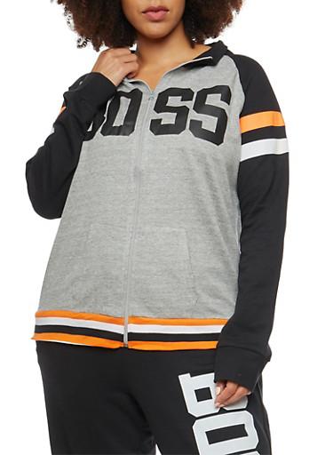 Plus Size Boss Graphic Zip Up Sweatshirt,BLACK,large