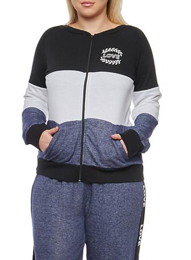Plus Size Color Block Zip Front Sweatshirt,BLUE,large
