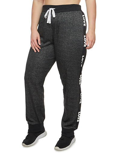 Plus Size Marled Love Graphic Sweatpants,BLACK/WHITE,large