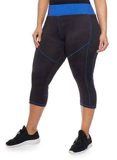 Plus Size High Waisted Activewear Capri Leggings,BLUE,large