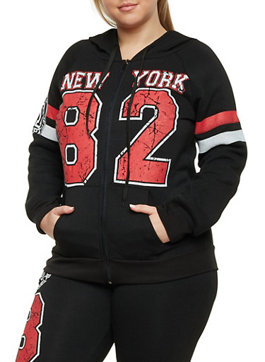 Plus Size Zip Front Hoodie with New York Graphics,BLACK,large