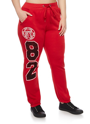 Plus Size Joggers with New York Graphics,HOT RED,large
