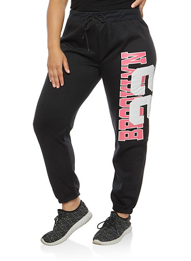 Plus Size Brooklyn Graphic Fleece Sweatpants,BLACK,large