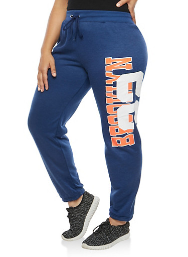 Plus Size Brooklyn Graphic Fleece Sweatpants,NAVY,large