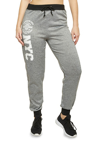 Plus Size Joggers with Brooklyn Graphic,BLACK,large