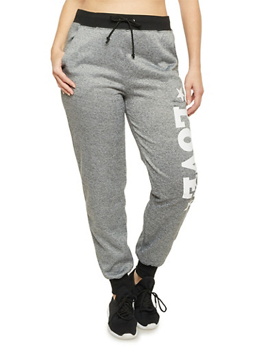 Plus Size Heathered Love Graphic Joggers,BLACK,large