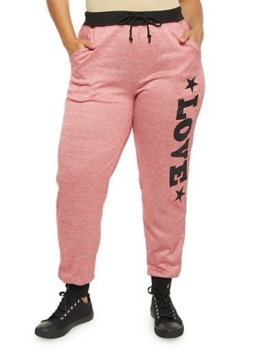 Plus Size Heathered Love Graphic Joggers,BURGUNDY,large
