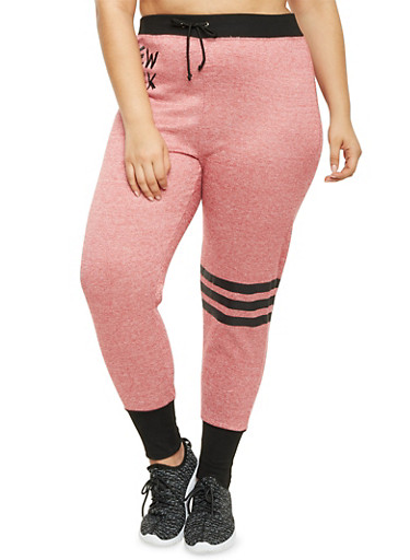 Plus Size Joggers with New York Print,BURGUNDY,large