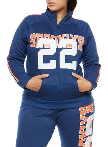 Plus Size Brooklyn Graphic Fleece Sweatshirt,NAVY,large
