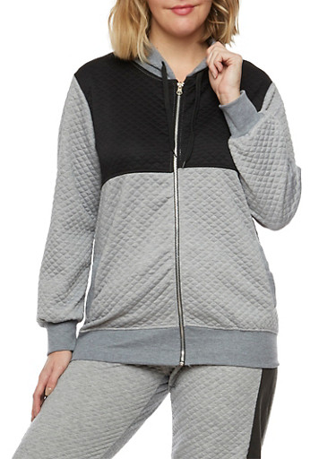 Plus Size Quilted Hoodie in Color Block Print,HEATHER,large