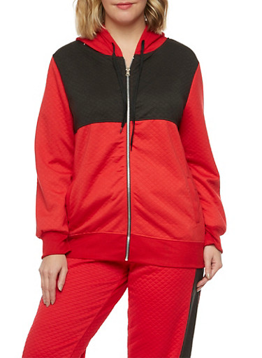 Plus Size Quilted Hoodie in Color Block Print,RED,large