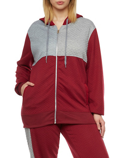 Plus Size Quilted Hoodie in Color Block Print,BURGUNDY,large