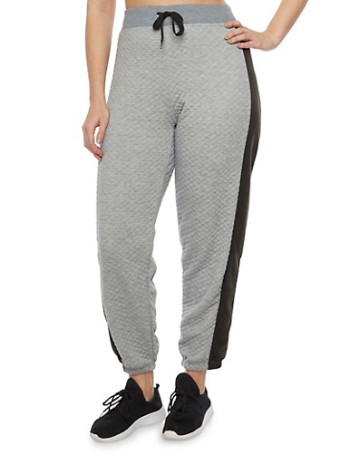 Plus Size Quilted Joggers with Tuxedo Stripe,HEATHER,large