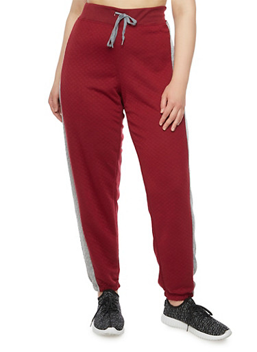 Plus Size Quilted Joggers with Tuxedo Stripe,BURGUNDY,large