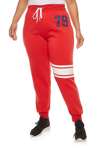 Plus Size 79 Graphic Sweatpants,RED,large