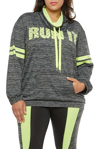 Plus Size Active Run It Graphic Sweatshirt,CHARCOAL,large
