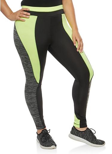 Plus Size Color Block Active Leggings,CHARCOAL,large