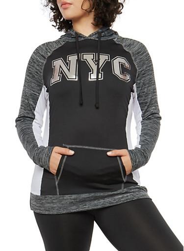 Plus Size Color Block Graphic Active Sweatshirt,BLACK,large