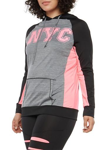 Plus Size Color Block Graphic Active Sweatshirt