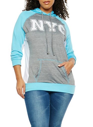 Plus Size Color Block Graphic Active Sweatshirt,TURQUOISE,large